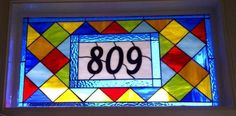 Custom Made Colorful Stained Glass Transom Window Panel --- Contemporary Diamonds