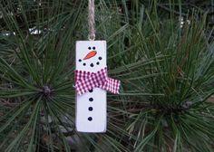 Repurposed Jenga Block Rustic Snowman Christmas Tree Ornament Wood Block