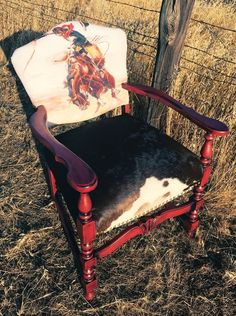 vintage home accents Made to Order Vintage Cowboy Chair Cowhide Parlor Chair Cowhide Furniture, Cowhide Chair, Western Furniture, Cowhide Decor, Rustic Furniture, Furniture Ideas, Cabin Furniture, Industrial Furniture, Painted Furniture