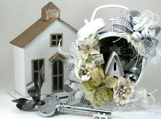 Winter Wonderland Shabby Chic Chritmas Clock Holiday Home Decor Handmade