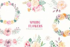 Spring Flowers- Watercolor set - Illustrations