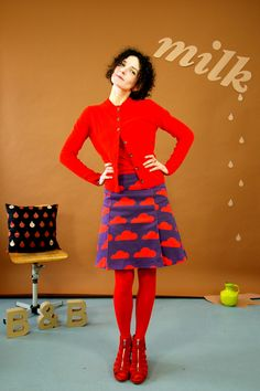 RETRO-60IES ROCK 'PEGGY SUE LILA-ROT' - Bonnie-and-Buttermilk - Midi Skirts