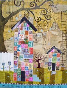 Postage Stamp Houses by Jen Born I have the perfect stamps for these. Kunstjournal Inspiration, Art Journal Inspiration, Collages, Collage Art, Art Journal Pages, Art Journals, Art Postal, Postage Stamp Collection, Postage Stamp Art