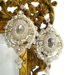 Odette Bridal Chandelier Earrings- Handmade Silver Lace, Crystals, Pearls, Moonstone