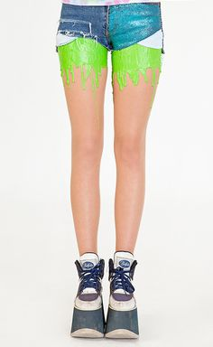 Neon Green Melting Tights, would look pretty sweet with a 90s nick tee