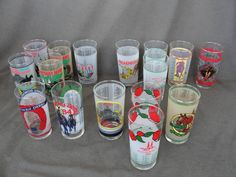 Lot of 16 Vintage Kentucky Derby Horse Racing Mint Julip Glass