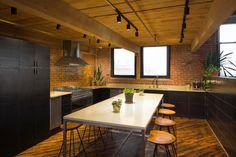 Designing Brick Kitchens for Your Style Home   Fireclay Tile Fireclay Tile, Thin Brick, Brick Tiles, Green Kitchen, Color Tile, Commercial Design, Kitchen Tiles, Home, Dark Side