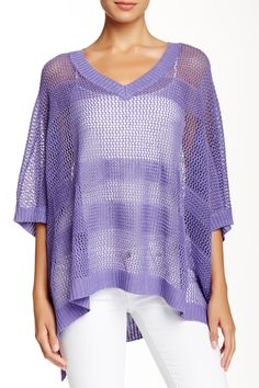 Oversized Linen Blend Mesh Sweater by Joan Vass on @HauteLook
