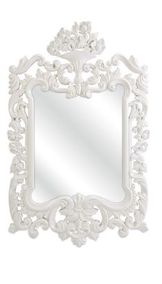 Elegant White Baroque Mirror,  sharing luxury designer home decor inspirations and ideas for beautiful living rooms, dinning rooms, bedrooms & bathrooms inc furniture, chandeliers, table lamps, mirrors, art, vases, trays, pillows & accessories courtesy of InStyle Decor Beverly Hills enjoy & happy pinning