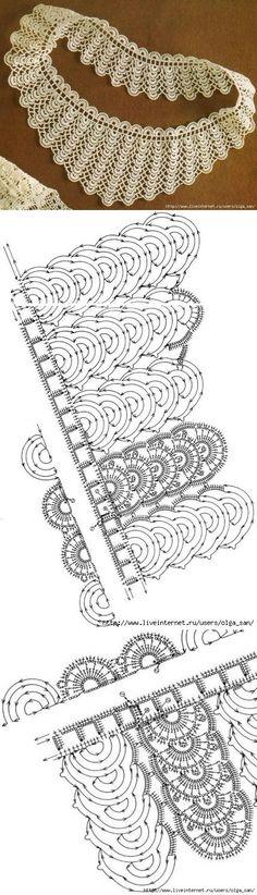 Необычный воротник крючком. Схемы | Шали | Постила