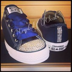Blue Royal Navy satin ribbon laces silver by CrystalCleatss Ahhhhh this is so cute for summy Blue Satin Shoes, Silver Shoes, Grey Shoes, Women's Shoes, Wedding Tennis Shoes, Wedding Converse, Wedding Sneakers, Rhinestone Converse, Bling Converse