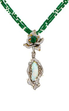 ARUNASHI ~ Necklace in blackened gold, opal, pearls, emerald beads and diamonds