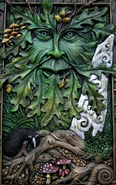 Green Man and standing stone.wonderful example in great setting. Green Man, Holly King, Yule, Dragons, Tree Faces, Gods And Goddesses, Faeries, Fantasy Art, Gothic
