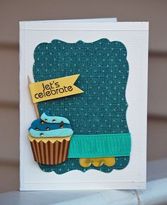 love the paper pieced cupcake and the large label as a mat!