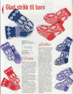 Norske sokker og vanter Knitted Mittens Pattern, Knit Mittens, Baby Knitting Patterns, Knitting Socks, Knitting Stitches, Mitten Gloves, Free Knitting, Crochet Baby, Knit Crochet