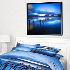 DESIGN ART Designart 'Blue Lake Sunset with Pier' Landscape Photography Framed Canvas Print