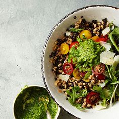 Farro & Lentil salad with Arugala Pesto. - great make a head for sack lunches during the week! Add some lean chicken or smoked salmon for extra protein!