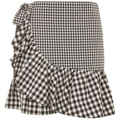 Topshop Gingham Frill Wrap Mini Skirt (1.131.975 VND) ❤ liked on Polyvore featuring skirts, mini skirts, topshop, monochrome, frilled skirt, frill skirt, wrap skirts, short ruffle skirt and topshop skirts