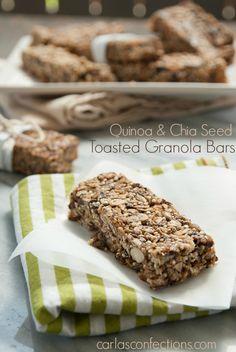 Quinoa and Chia Seed Toasted Granola Bars Recipe Title Photo | Carla's Confections #granolabars #quinoa #chiaseed