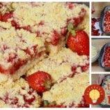 Drobenkový koláč s pudingom a jahodami: Nerobíte žiadne cesto, len nasypať na plech, zaliať pudingom! Dairy, Cheese, Food, Essen, Meals, Yemek, Eten