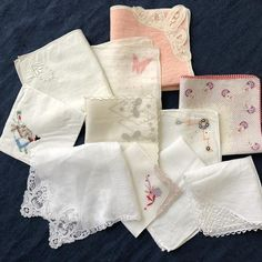 handkerchief Antique handmade handkerchief of batist with lace pat French antique linen and lace
