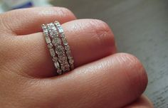 Baguette and round diamond white gold stacking bands (set with single prong)