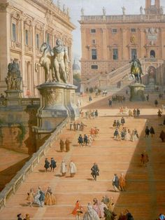 """""""THERE'S ONLY ONE THING IN LIFE, and that's the continual renewal of inspiration."""" - Diana Vreeland ...........* ... a fraction of Giovanni Paolo Panini's (Piacenza 1691-1765 ) oil paint - View of the Campidoglio, Rome. 46¾ x 49½"""". Seen @ NYC."""