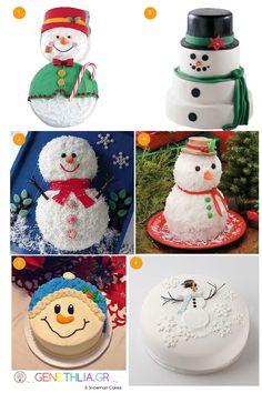 6 snowman cakes