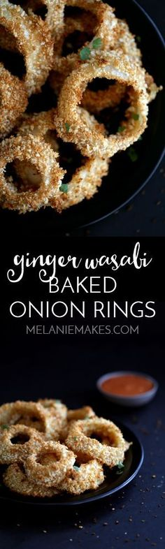 These tasty Ginger Wasabi Baked Onion Rings take just four ingredients and 20 minutes to make and that includes the amazing Asian inspired ketchup dipping sauce.