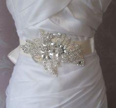 Creamy Ivory Sash Crystal Beaded Bridal Sash by TheRedMagnolia Crystal Beads, Crystals, Cream Wedding, Bridal Sash, Ivory, Brooch, Creative, Handmade, Etsy