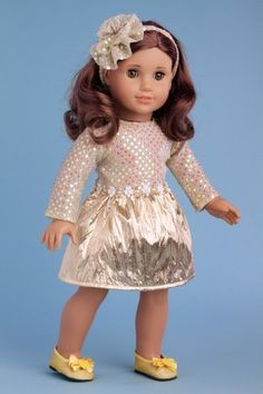 Simply Beautiful - Gold sparkling holiday dress with decorative head piece and gold shoes - 18 Inch American Girl Doll Clothes  Price : $25.97 http://www.dreamworldcollections.com/Simply-Beautiful-sparkling-decorative-American/dp/B004OUIW2K
