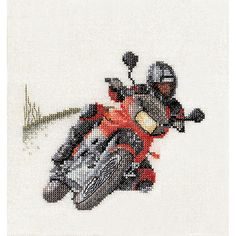 Thea Gouverneur counted-cross-stitch Kit Motorcyclist On Linen