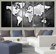 Black Backgrounded White WORLD MAP Canvas Print - World Map 5 Piece Canvas Art Print - Ready to Hang -Black and White World Map