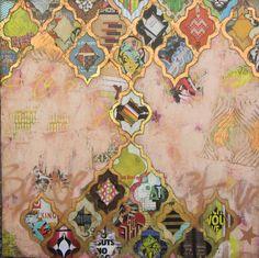 """""""Queen of Bandits"""" 48""""x48"""" Mixed media on Canvas Jill Ricci"""