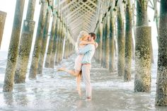 Bright and airy, romantic and elegant, FOLLY BEACH, CHARLESTON, SOUTH CAROLINA ENGAGEMENT PHOTOS by wedding photographers, Aaron and Jillian Photography // Hair & Makeup by Ash & Co Bridal
