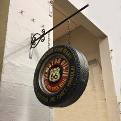 Our vintage style light up hanging metal sign is a fun way to dress up any garage, cafe, man cave or home bar. Tire Furniture, Garage Furniture, Car Part Furniture, Automotive Furniture, Automotive Decor, Automotive Carpet, Automotive Engineering, Automotive Group, Modern Furniture