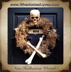 definitely next year...grapevine wreath, moss, bag of bones (Walmart), burlap ribbon, spiders, hot glue, felt letters