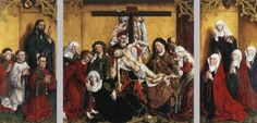 UNKNOWN MASTER, Flemish (active 1440s in Leuven)  Click! Edelheere Altarpiece  1443 Oil on oak panel, 100 x 105 cm (central panel), 105 x 53 cm (each wing) Sint-Pieterskerk, Leuven  The triptych, painted for Wilhelm Edelheere, a patrician of Leuven, shows how unusual and impressive Rogier van der Weyden's Deposition must have been in its time - this is a very early case of an almost exact copy, for the fashion for such copies of Rogiers's pictures did not really set in until near the end…