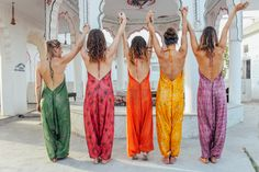 Silk festival backless jumpsuits ethically sourced and produced in India. Pushkar rooftop rainbow girl gang!