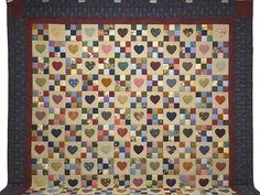 King Navy and Burgundy Hearts and Nine Patch Quilt Photo 2