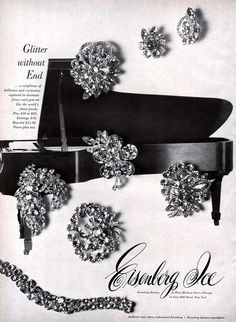 Eisenberg Ice Fashion Jewelry PIN Earrings BRACELET Glitter Without End 1960 Ad