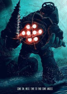 Bioshock Big daddy fan art | poster | under the sea | gaming posters, splicers, little sister, rapture