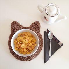 cute kitty breakfast mat