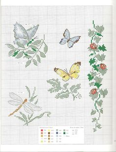 Butterflies leaves and ladybugs cross stitch pattern - free cross stitch patterns crochet knitting amigurumi Butterfly Cross Stitch, Cross Stitch Love, Beaded Cross Stitch, Cross Stitch Borders, Cross Stitch Samplers, Cross Stitch Animals, Cross Stitch Flowers, Cross Stitch Charts, Cross Stitch Designs