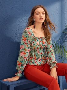 To find out about the Frilled Trim Floral Print Peplum Top at SHEIN, part of our latest Blouses ready to shop online today! Belted Shirt Dress, Cute Casual Outfits, Types Of Sleeves, Blouse Designs, Fashion News, Elegant Dresses, Fashion Dresses, Clothes For Women, Bee Embroidery