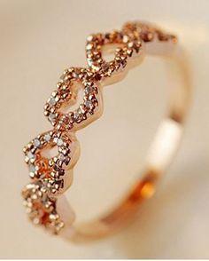 So Pretty! Love this Little Hearts Ring! Delicate Romantic Rhinestone Hearts…