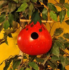 Strawberry Gourd Birdhouse, Handpainted (GBHC235) on Etsy, $18.00