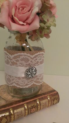 rustic wedding centerpiece burlap and lace by RedHeartCreations, $68.95