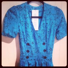 Blue Cat Print Dress Vintage Inspired Double Breasted Buttons