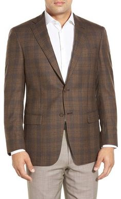 Hart Schaffner Marx 'New York' Classic Fit Plaid Wool Sport Coat Brown Blazer, Plaid Blazer, Nordstrom Coats, Tie Matching, New York, Coat Patterns, Mens Suits, Suit Jacket, Man Shop